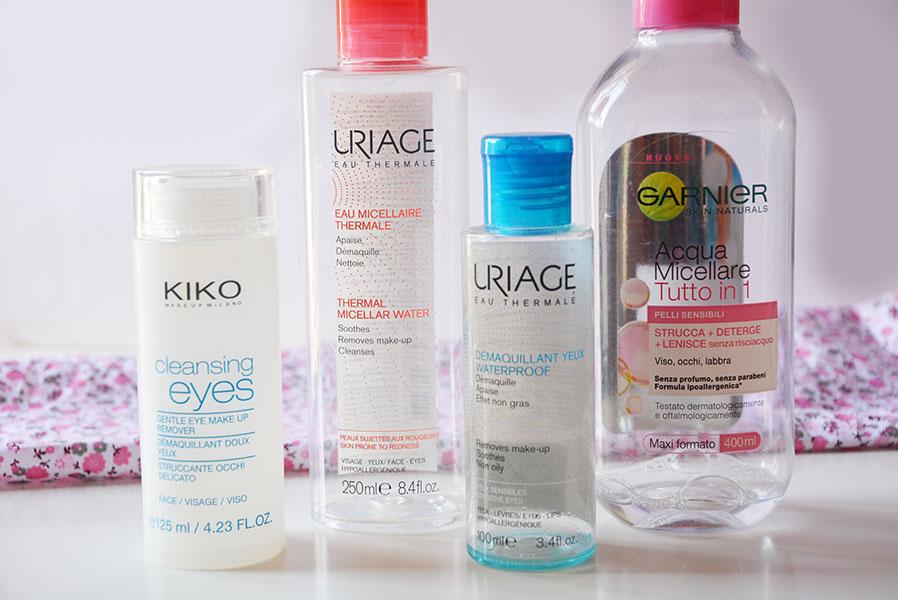 struccanti-occhi-kiko-uriage-acqua-micellare-garnier