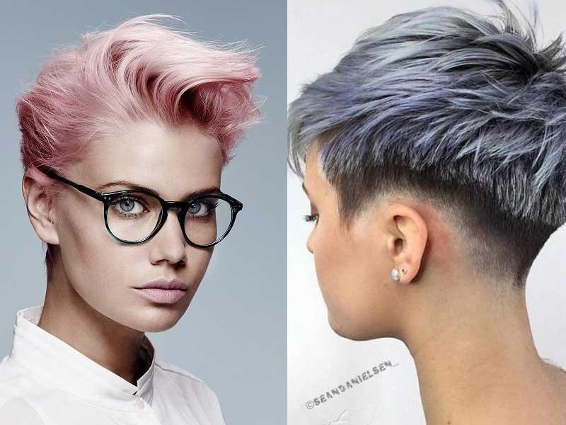 Tagli capelli corti  Pixie Cut nei colori moda rosa e lavanda e6694d50c25e
