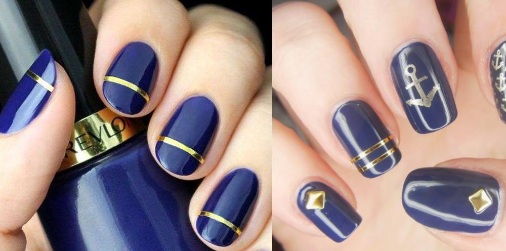 Unghie blu elettrico e oro