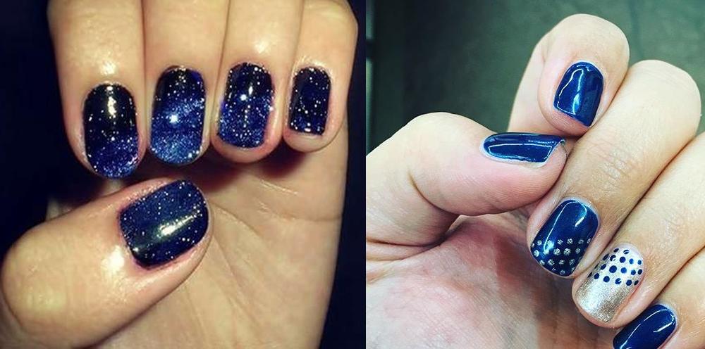 Unghie blu elettrico e argento