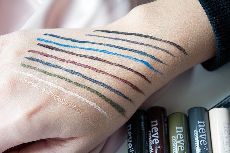 InkMe Neve Cosmetics Eyeliner Swatches