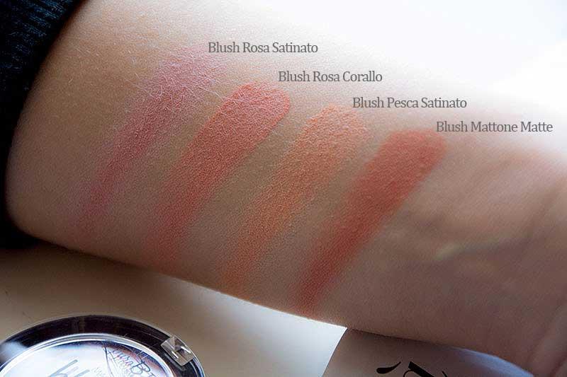 PuroBIO collezione Beleza swatches dei blush
